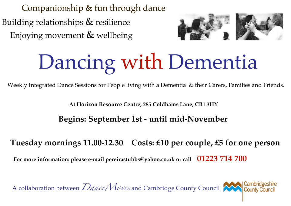 poster for new Dancing for Dementia sessions